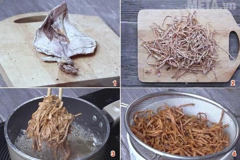 Cách làm khô mực chiên nước mắm
